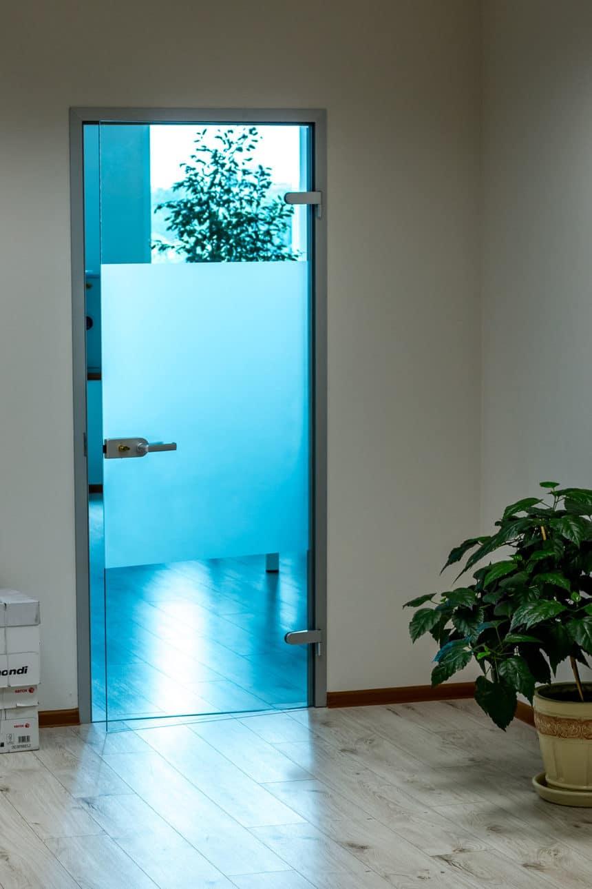 Стеклянная межкомнатная дверь в коробке