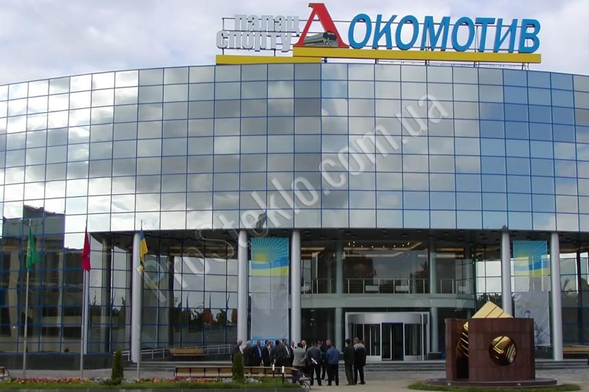 Стеклянный фасад стадиона локомотив