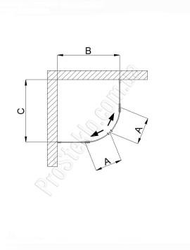 схема душевой кабины из закругленного стекла