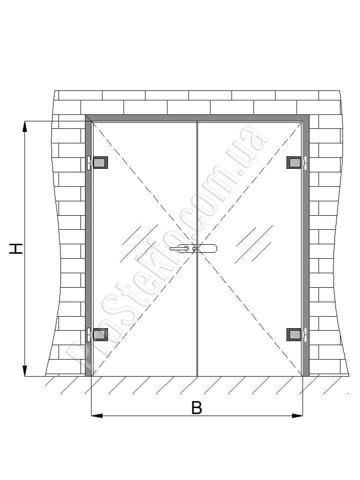 маятниковая двухстворчатая дверь фото