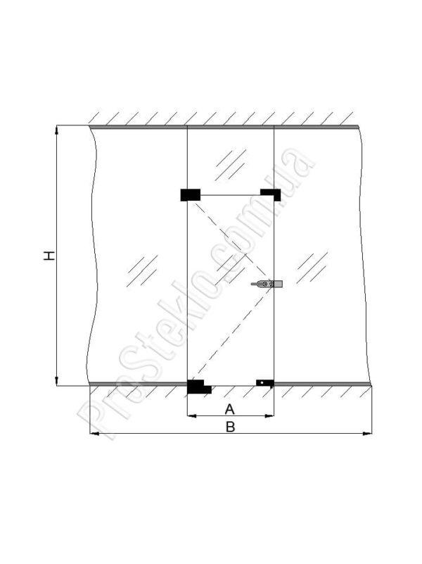 схема перегородки и маятниковой двери
