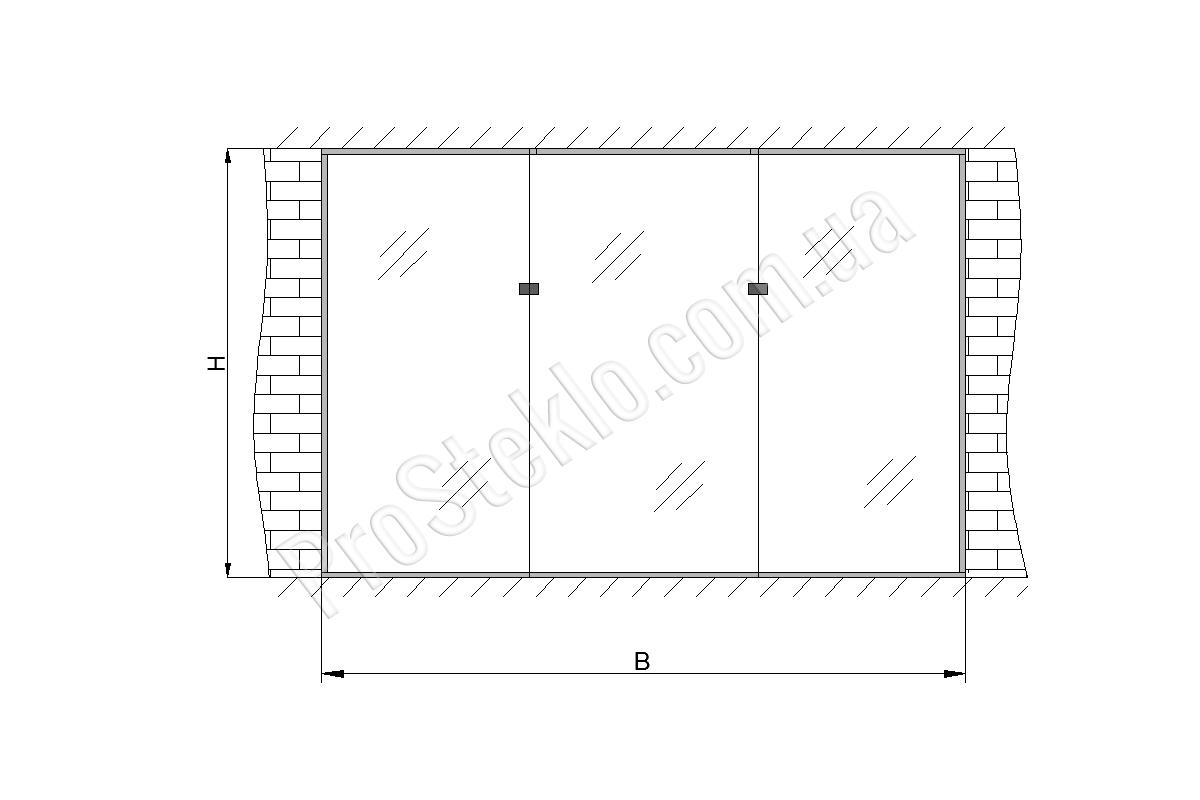 схема Стеклянной витрины в магазине